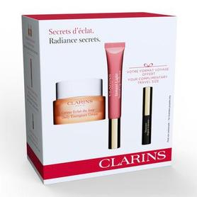 Clarins Radiance Secrets Kit 30 ml Krem na dzień Daily Energizer Cream 30 ml + Błyszczyk Instant Light Natural Lip Perfector 12 ml 01 + Tusz do rzęs Supra Volume 3,5 ml 01