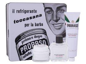 PRORASO White Kit Balsam po goleniu 100 ml + Krem do golenia 150 ml + Krem przed goleniem 100 ml + Puszka