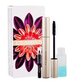 Clarins Mascara Supra Volume Tusz do rzęs 8 ml + Płyn do demakijażu oczu Instant Eye Make-Up Remover 10 ml + Kredka do oczu Crayon Khol 0,39 g 01 Carbon Black