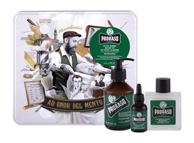 PRORASO Eucalyptus Beard Wash Szampon do brody 200 ml + balsam do brody 100 ml + olejek do brody 30 ml + metalowe opakowanie