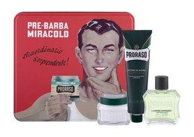 PRORASO Green woda po goleniu  100 ml + krem do golenia 150 ml + krem przed goleniem 100 ml + metalowe opakowanie