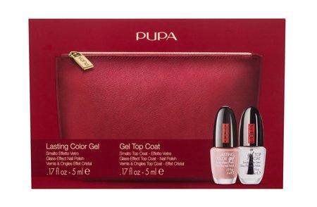 Pupa Lasting Color Gel Lakier do paznokci 5 ml + wierzchni lakier do paznokci 5 ml + kosmetyczka (1)